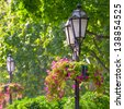 Lantern in a blooming spring park - stock photo