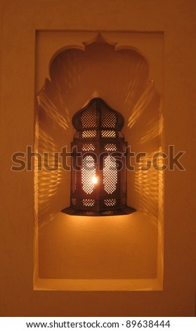 lantern in an alcove - stock photo
