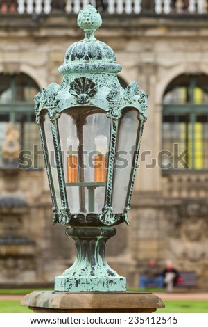 Lantern in Zwinger Park in Dresden. Germany.
