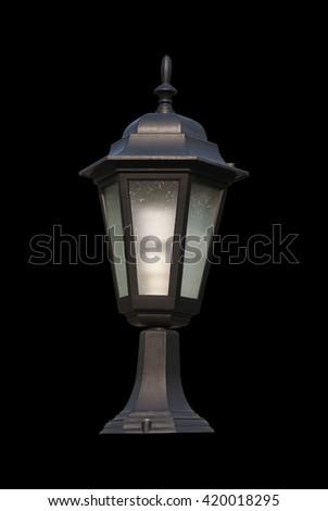 lantern isolated on black background - stock photo
