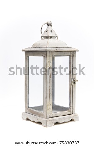 lantern isolated on white background - stock photo