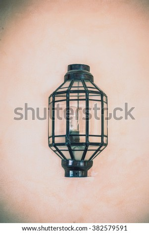Lantern light lamp decoration on wall - Vintage film Filter