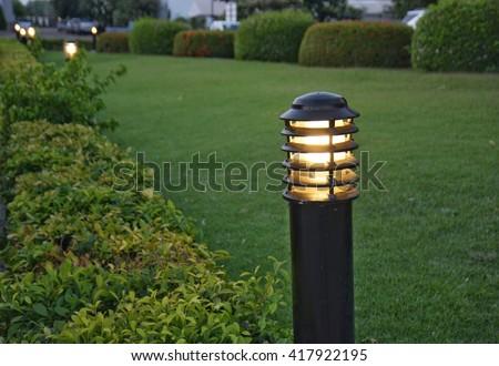 Lantern lighting in the park  - stock photo