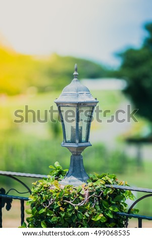 Lantern lighting in the park., color effect.