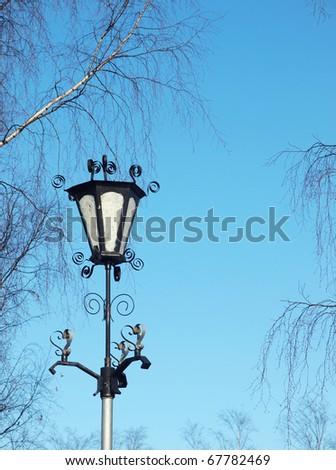 Lantern on quay of Onega in Petrozavodsk, Russia - stock photo