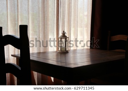 Lantern on the table