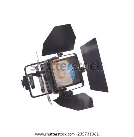 Lantern, video light isolated on white - stock photo