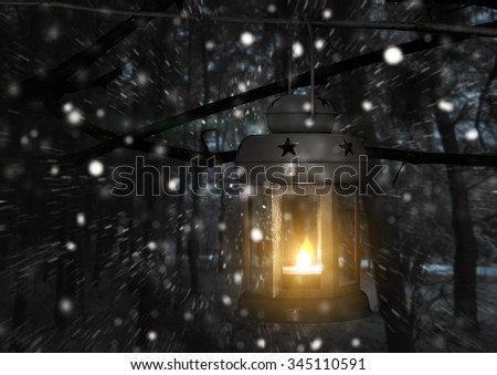 Lantern with candle on the background of winter nature - stock photo