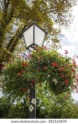 lantern with flowers on city street of Zagreb