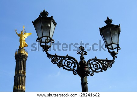 Lantern with the victory column in the background, Berlin