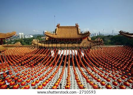 Lanterns displayed at Chinese temple. - stock photo