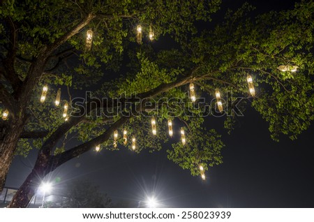 Lanterns hanging from tree to decorate. Made of wicker from bamboo. Equipment to catch a fish, a bird cage. - stock photo