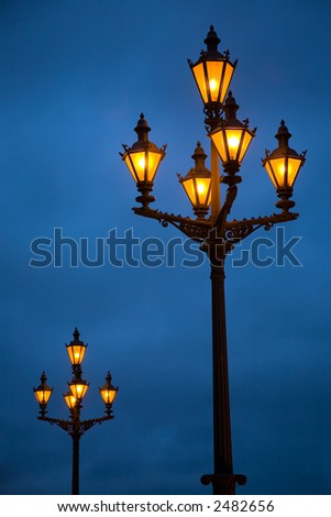 Lanterns on the Palace area in St.-Petersburg - stock photo