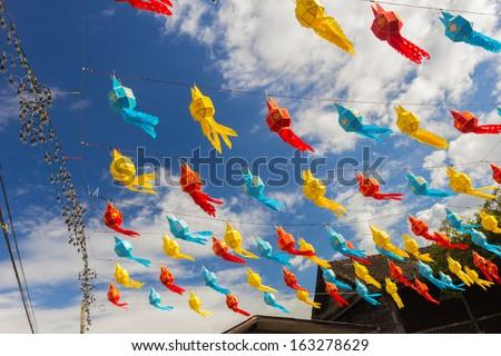 Lanttern design,Paper lantern festival. Traditional Lanna, Northern Thailand. - stock photo