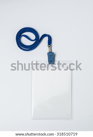 Lanyard and badge. Conference badge. Blank badge template in plastic holder with blue strap. - stock photo