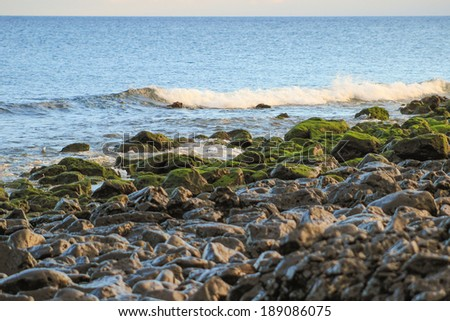 Lanzarote beach, a Spanish island on the Canary Islands in the Atlantic Ocean off the coast of Africa - stock photo