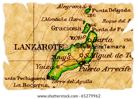 Lanzarote, Canary Islands on an old torn map from 1949, isolated. Part of the old map series.