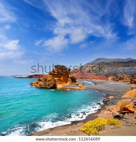 Lanzarote El Golfo Atlantic ocean near Lago de los Clicos in Canary Islands - stock photo