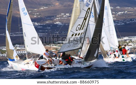 LANZAROTE, SPAIN - NOV. 05: Competitions of the Federation Cup for cruising race, class  J-80, Nov. 05 2011, Canary island, Spain - stock photo