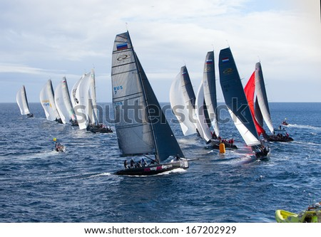 LANZAROTE, SPAIN - NOVEMBER 19: RC44 Class Association on Day 4 fleet racing in World Championship on November 19, 2011 on Puerto Calero, Lanzarote, Spain