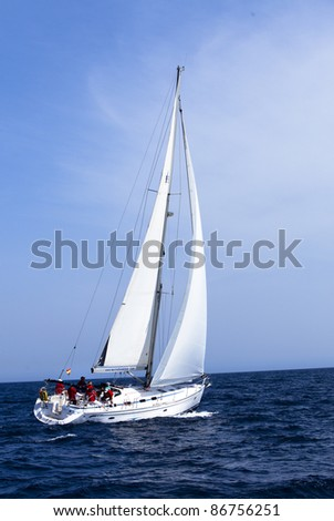 LANZAROTE, SPAIN - OCT. 11: one fully crewed yacht  with number 1  out sailing with white sails   in the  Russian BOSS Regatta, Oct.  11 2011, Canary islands, Spain - stock photo