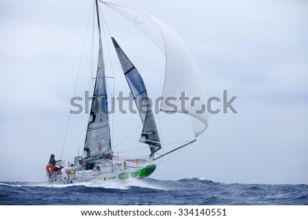 LANZAROTE, SPAIN - OCTOBER 31: Simon Koster in Mini Transat Iles de Guadeloupe October 31,  2015. Lanzarote, Canaries islands, Spain.