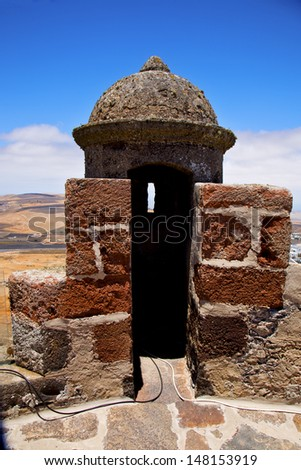 lanzarote  spain the old wall castle  sentry tower and door  in teguise arrecife