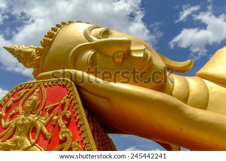 Lao people worship Golden buddha at Pha That Luang temple at Lao nationalism. - stock photo