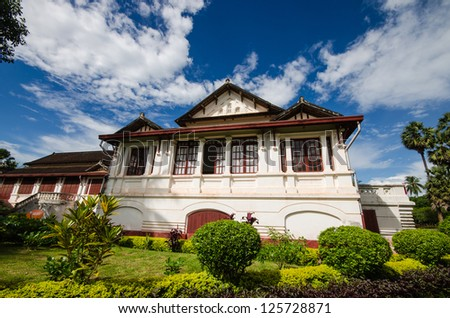 Laos Architecture, ancient design on building in Luang prabang , Laos. - stock photo