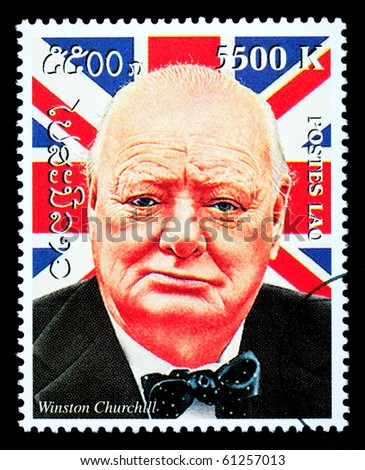 LAOS - CIRCA 2000: A postage stamp printed in Laos showing Winston Churchill, circa 2000 - stock photo