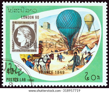 """LAOS - CIRCA 1990: A stamp printed in Laos from the """"International Stamp Exhibition Stamp World London 90 """" issue shows France 1849 20c. stamp and mail balloons, Paris, 1870, circa 1990. - stock photo"""