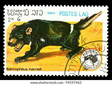 LAOS - CIRCA 1984: A stamp printed in Laos showing sarcophilus harrisii, circa 1984