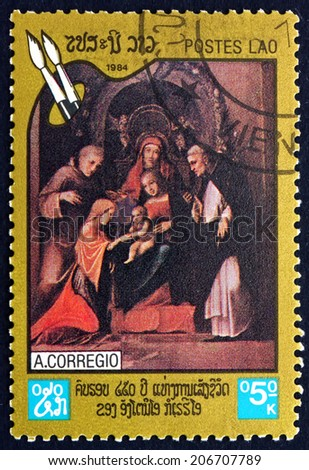 LAOS - CIRCA 1984: a stamp printed in Laos shows Madonna and Child (Holy Family), Painting by Antonio da Correggio, Italian Painter, circa 1984