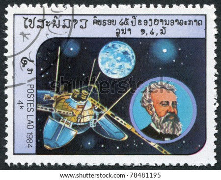 LAOS-CIRCA 1984: A stamp printed in the Laos, depicts the spacecraft Luna 13, and a portrait of Jules Verne, circa 1984 - stock photo