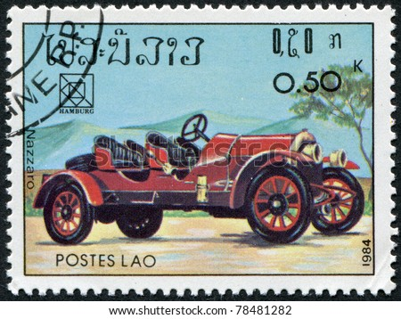 LAOS-CIRCA 1984: A stamp printed in the Laos, is devoted to 19th UPU Congress, Hamburg. Classic sport and race cars, Nazzaro, circa 1984 - stock photo