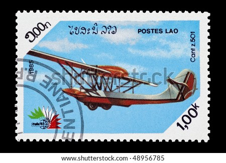 LAOS - CIRCA 1985: mail stamp printed in Laos featuring a Cant 501 seaplane, circa 1985