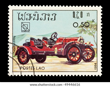 LAOS - CIRCA 1984: mail stamp printed in Laos featuring a vintage Nazzaro sports car, circa 1984