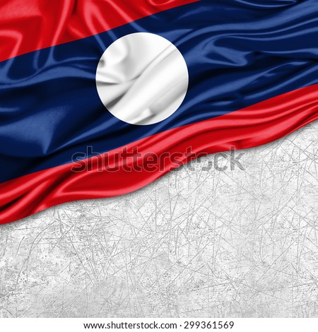 Laos   flag of silk with copyspace for your text or images and wall background