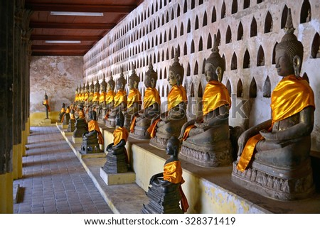 Laos, Old Buddha image in Wat Sisaket popular place to visit in Vientiane city and landmark