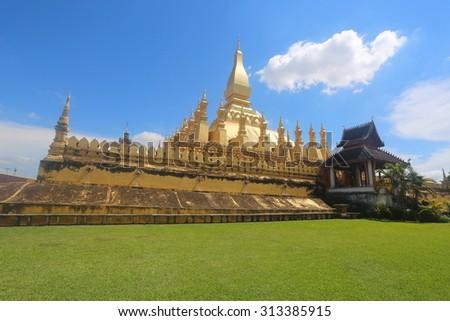 laos pagoda culture - stock photo