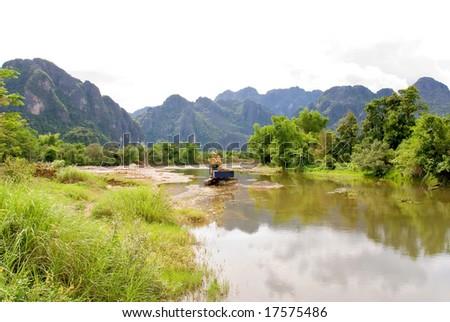 laos river landscape - stock photo