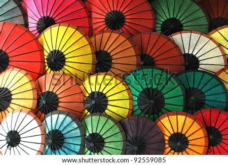 laos umbrella - stock photo