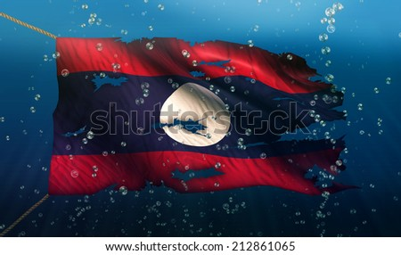 Laos Under Water Sea Flag National Torn Bubble 3D - stock photo
