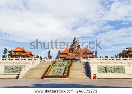 Laozi statue in yuanxuan taoist temple guangzhou, China - stock photo