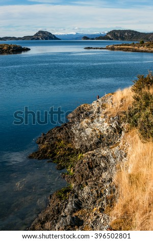 Lapataia Bay in Tierra del Fuego. Lapataia is the name of the place, where the Panamerican highway is ending, the road that takes you from Alaska to Fireland - stock photo