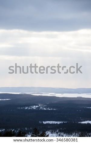 Lapland landscape aerial and clouds - stock photo