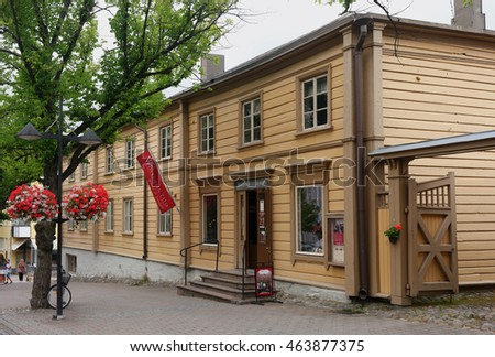Lappeenranta, Finland - 29 July 2016: House-museum Volkov merchants. Wolkoffin talomuseo - one of the oldest in the city. The two-storey house lived four generations of Russian merchant family Volkov.