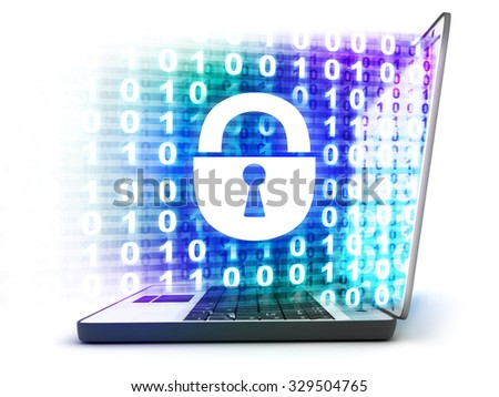 Laptop and abstract lock  (done in 3d)   - stock photo