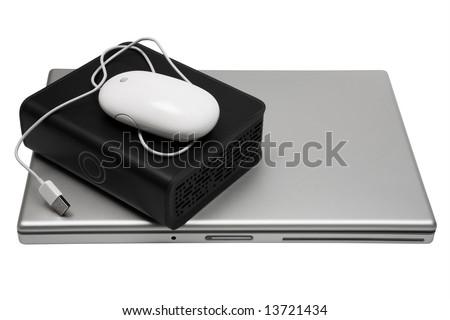 laptop and an external hard drive on a white background - stock photo
