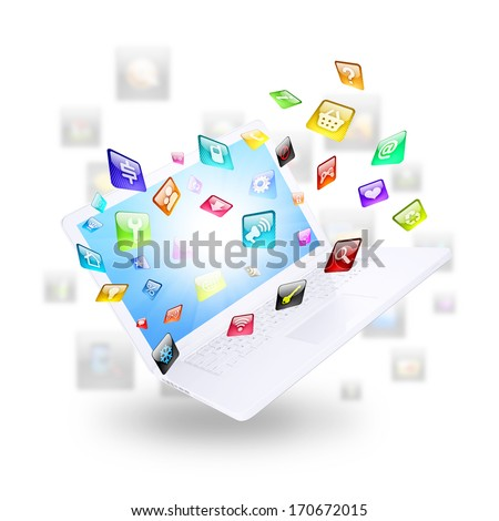 Laptop and application icons. Computer technology concept